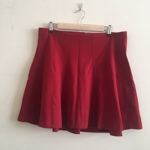Red High Waisted Circle Skirt